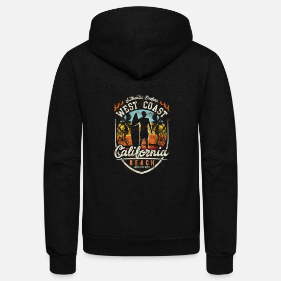 California Hoodies & Sweatshirts - West Coast California Beach - Unisex Fleece Zip Hoodie black
