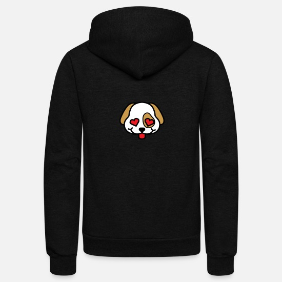 Pet Hoodies & Sweatshirts - Cute Puppy Love with Heart Eyes - Unisex Fleece Zip Hoodie black