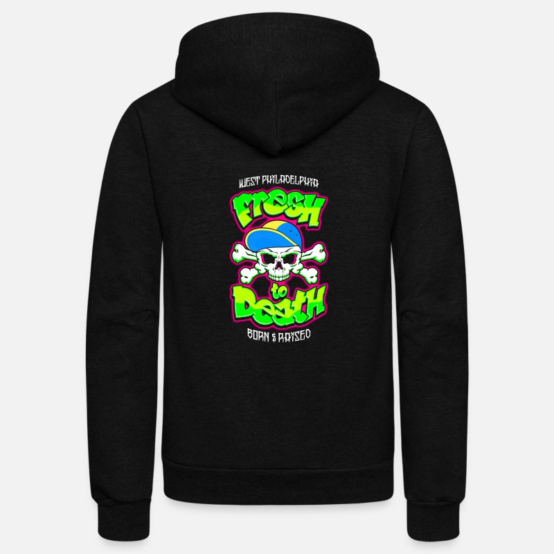 Fresh Hoodies & Sweatshirts - fresh to death skull - Unisex Fleece Zip Hoodie black
