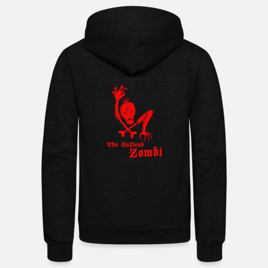 Art Hoodies & Sweatshirts - The undead zombi - Unisex Fleece Zip Hoodie black