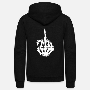 Middle Middle Finger Skeleton Bone Skull Grafitti Art - Unisex Fleece Zip Hoodie