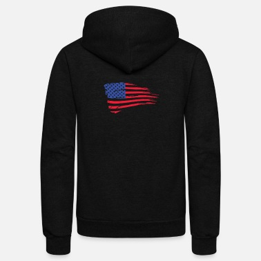 America United States Of America Flag - Unisex Fleece Zip Hoodie