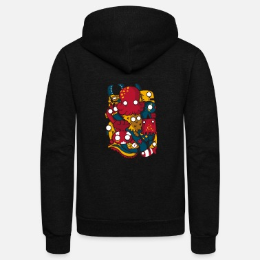 Sea Creatures sea creatures and anchor - Unisex Fleece Zip Hoodie