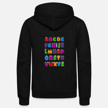 Kawaii Alphabet Letters ABC for children - Unisex Fleece Zip Hoodie