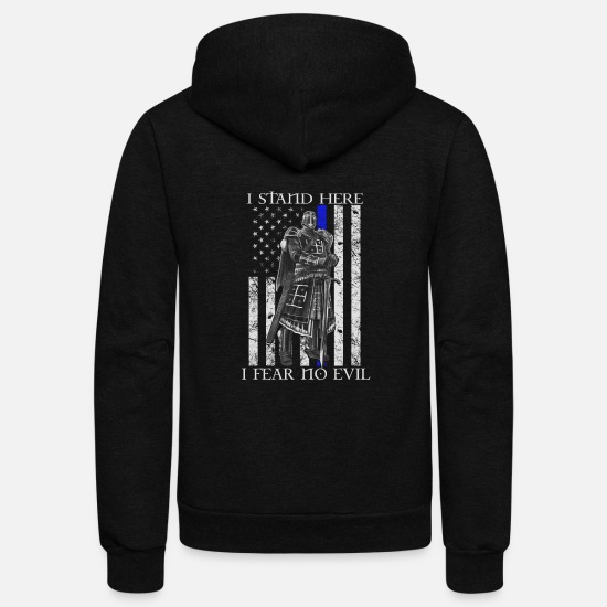 Templar Knights Hoodies & Sweatshirts - Crusader - I stand here fearing no evil flag tee - Unisex Fleece Zip Hoodie black