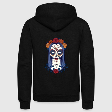 Skull sugar_skull_face_girl - Unisex Fleece Zip Hoodie