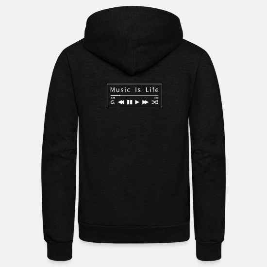 Music Hoodies & Sweatshirts - Music - Music Is Life - Unisex Fleece Zip Hoodie black