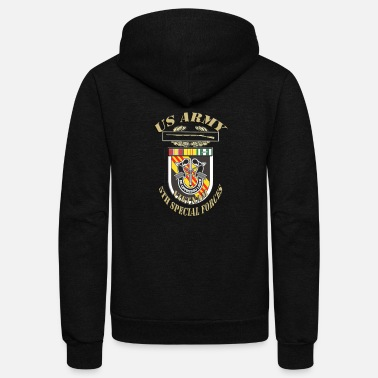 Special Forces 5thSFG3 WITH RIBBONS.png - Unisex Fleece Zip Hoodie