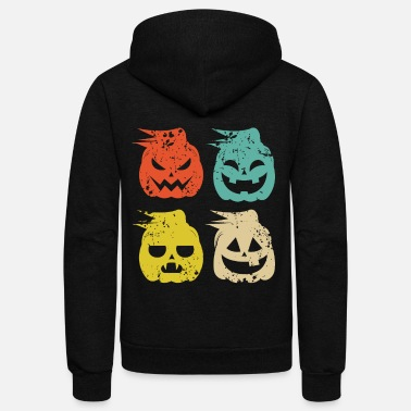 Vintage pumpkin thanksgiving Funny Halloween - Unisex Fleece Zip Hoodie