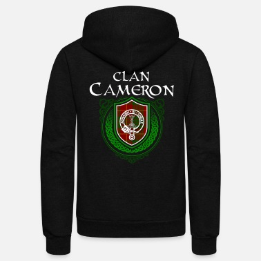 Clan Cameron Surname Scottish Clan Tartan Crest Badge - Unisex Fleece Zip Hoodie