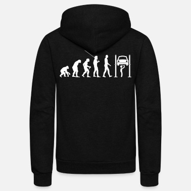 Guys Car Lover Mechanic Car Guy Evolution Xmas Gift - Unisex Fleece Zip Hoodie
