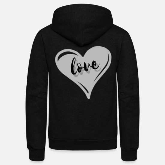 Love Hoodies & Sweatshirts - Love with heart - Unisex Fleece Zip Hoodie black