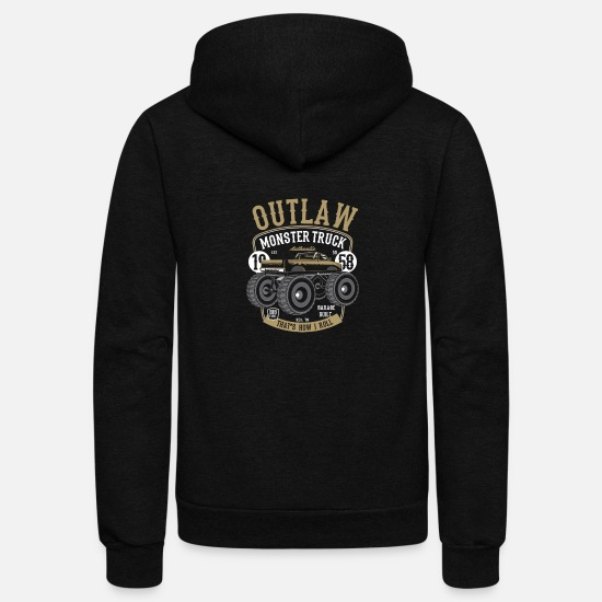 Wheel Hoodies & Sweatshirts - Outlaw Monster Truck - Unisex Fleece Zip Hoodie black