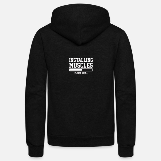 Nerd Hoodies & Sweatshirts - Muscles - Unisex Fleece Zip Hoodie black