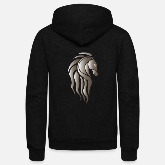 Anime Hoodies & Sweatshirts - Horse Head - Unisex Fleece Zip Hoodie black