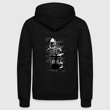 Lots of Sharks and a ship - Unisex Fleece Zip Hoodie