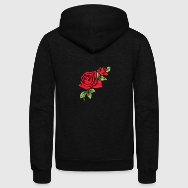 Rose two red roses drawing - Unisex Fleece Zip Hoodie