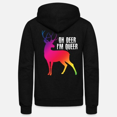 Transgender Oh Deer I'm Queer - LGBT Gay Pride - Unisex Fleece Zip Hoodie