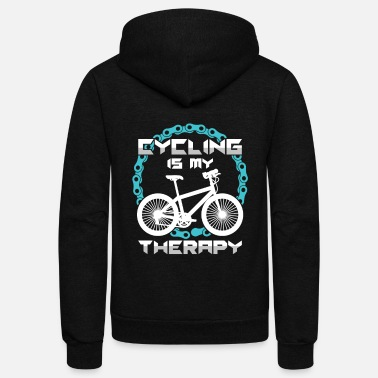 Cyling Cyling Is My Therapy Bicycle Bicycling BMX Bikers - Unisex Fleece Zip Hoodie