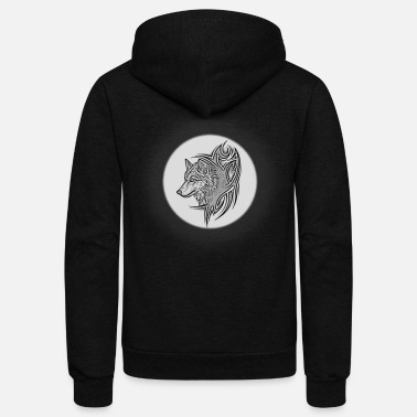wolf on the moon - Unisex Fleece Zip Hoodie