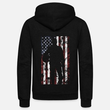 Army America USA Patriotic US American Flag - Unisex Fleece Zip Hoodie