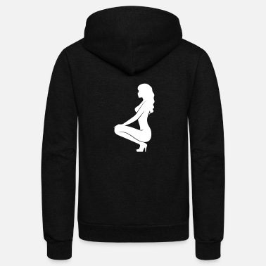 Erotic A Sexy Girl Kneeling On The Floor - Unisex Fleece Zip Hoodie