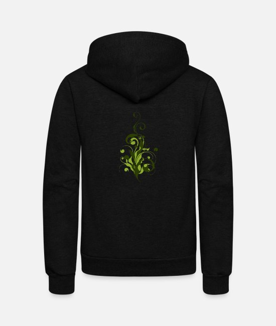 Dark Green Hoodies & Sweatshirts - Abstract Flora - Unisex Fleece Zip Hoodie black