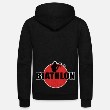 Winter Biathlon, biathlete, cross-country skiing - Unisex Fleece Zip Hoodie