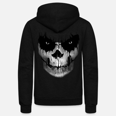 Skull Skull scary Halloween Face - Unisex Fleece Zip Hoodie