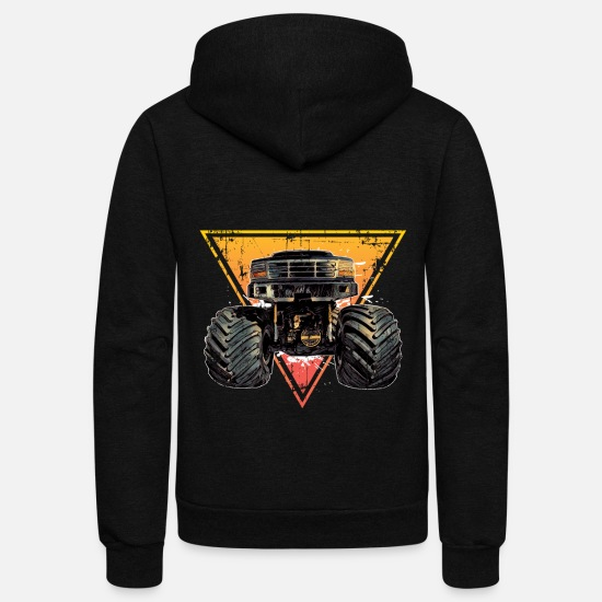 Truck Hoodies & Sweatshirts - Monster Truck - Unisex Fleece Zip Hoodie black