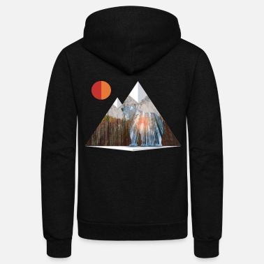 Cool Bear Sun Salute in Mountain Forest - Unisex Fleece Zip Hoodie
