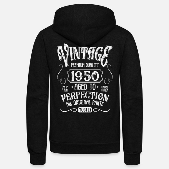 Birthday Hoodies & Sweatshirts - Birthday Present Vintage Age 1950 - Unisex Fleece Zip Hoodie black