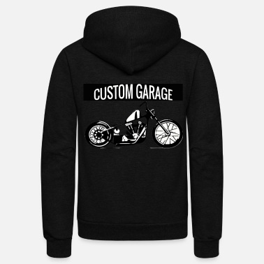 Motorcycle Garage Custom Bike Motorcycle Custom Garage Chopper - Unisex Fleece Zip Hoodie