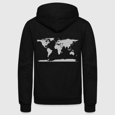 2000px World map blank without borders svg - Unisex Fleece Zip Hoodie