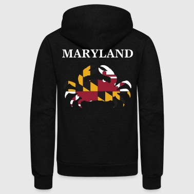 Crab Maryland State Maryland Flag Crab Art Blue Crab - Unisex Fleece Zip Hoodie