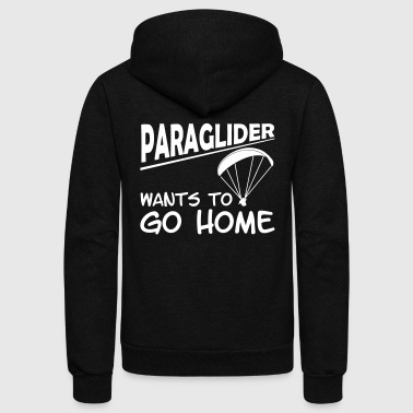 paragliding wants to go home - Unisex Fleece Zip Hoodie by American Apparel