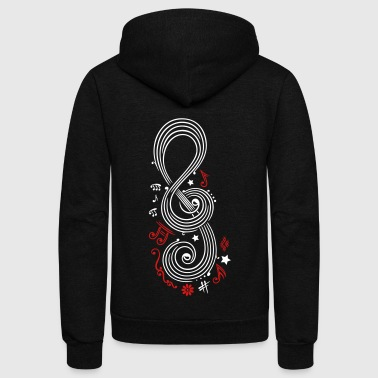 Big Clef with music notes - Unisex Fleece Zip Hoodie by American Apparel