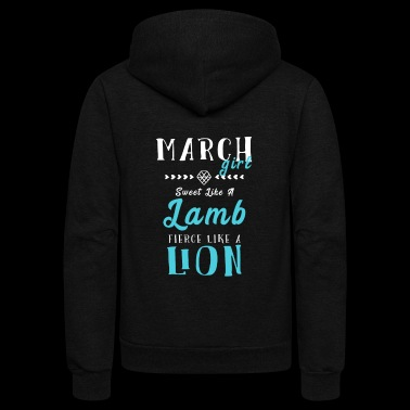 March Girl Lion Lamb - Unisex Fleece Zip Hoodie