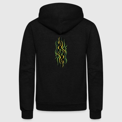 abstract green curves - Unisex Fleece Zip Hoodie by American Apparel