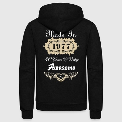 Made in 1977 40 years of being awesome - Unisex Fleece Zip Hoodie by American Apparel