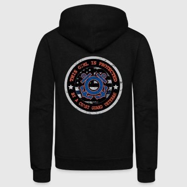 This Girl Protected By Coast Guard Shirts For Mom & Wife - Unisex Fleece Zip Hoodie by American Apparel