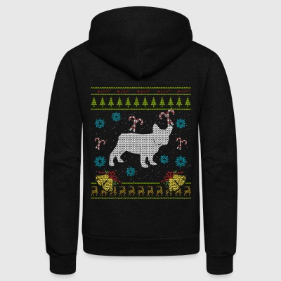 French Bulldog Christmas Ugly Shirt Sweater Ugly Design - Unisex Fleece Zip Hoodie by American Apparel