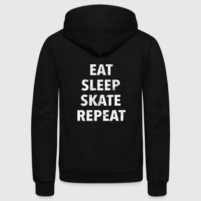 Eat Sleep Skate Repeat Roller Derby Shirts For Women - Unisex Fleece Zip Hoodie by American Apparel