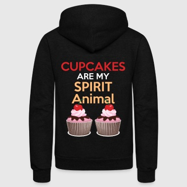 Funny Baking Gift Cupcakes Are My Spirit Animal Shirt Great Bakers Gift - Unisex Fleece Zip Hoodie by American Apparel