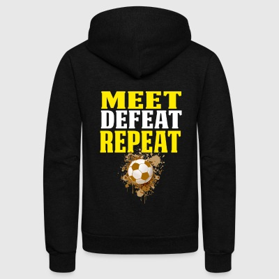 Soccer Shirts For Boys Meet Defeat Repeat - Unisex Fleece Zip Hoodie by American Apparel