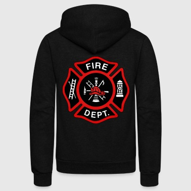 Red Fire Department Badge - Unisex Fleece Zip Hoodie