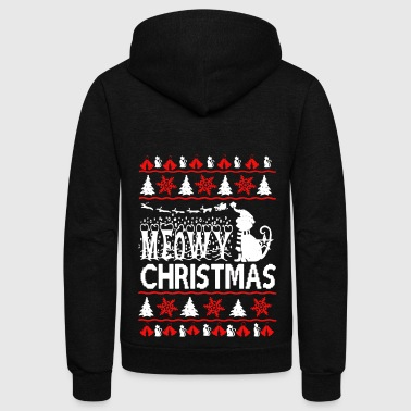Meowy Ugly Christmas Sweater - Unisex Fleece Zip Hoodie