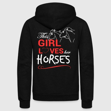 Girl Loves Her Horses Shirt - Unisex Fleece Zip Hoodie by American Apparel