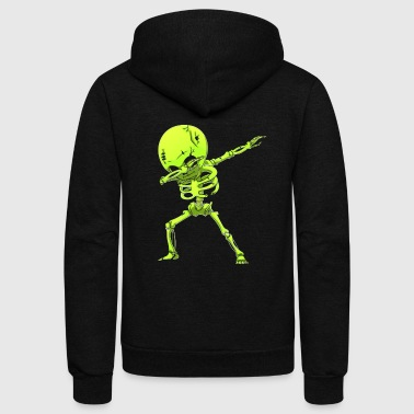 Dabbing Skeleton Halloween Neon Green Dab Dance - Unisex Fleece Zip Hoodie