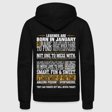 9 Rare To Find Legends Are Born In January - Unisex Fleece Zip Hoodie